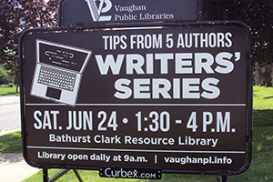 Vaughan Writers Series Sign